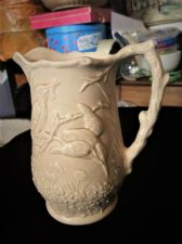 "VINTAGE COLLECTABLE 7.75"" HIGH SOFT BEIGE JUG ARTHUR WOOD KINGFISHER DESIGN"